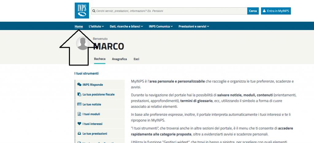 home page del sito inps 600 euro