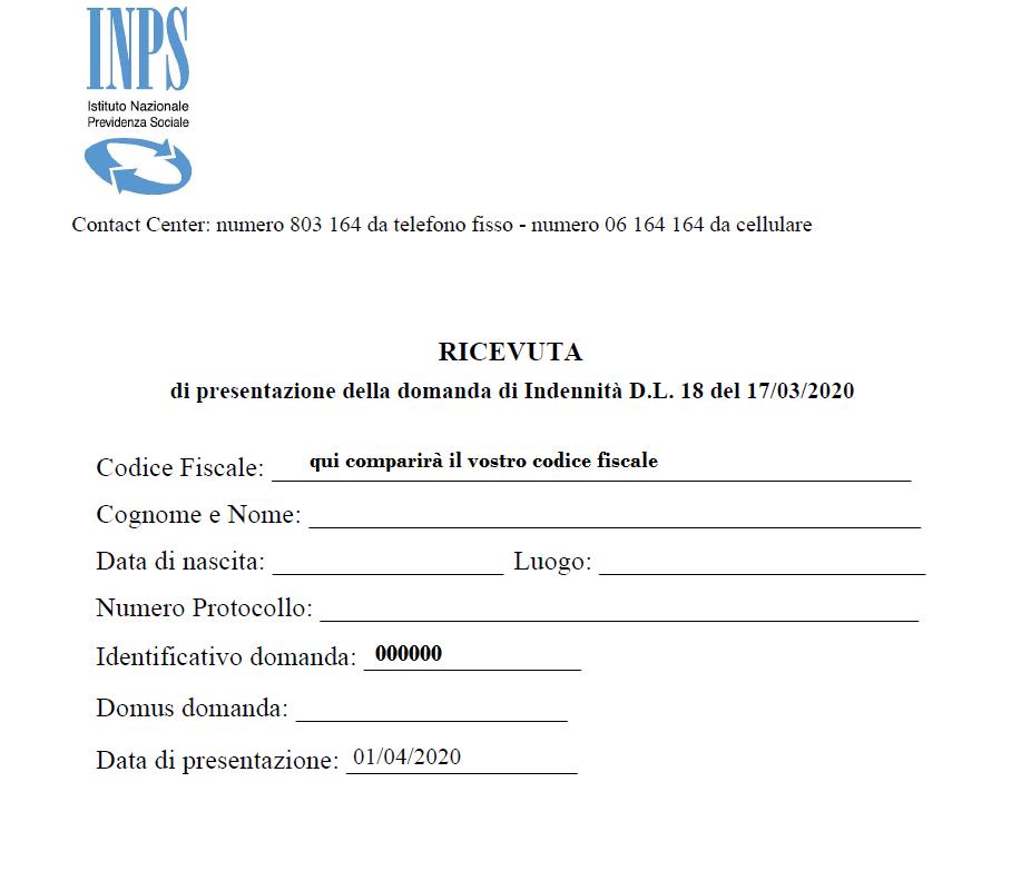 ricevuta domanda inps 600 euro